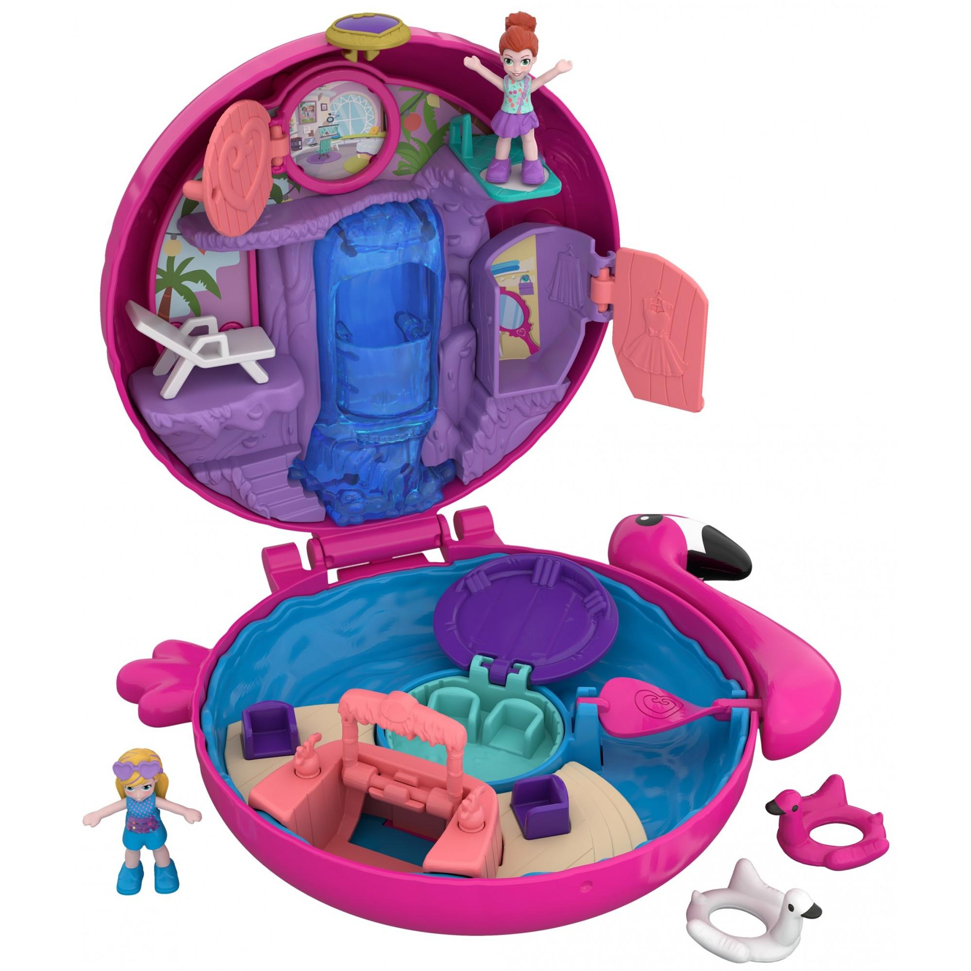 Polly Pocket Pocket World Flamingo Floatie Pool Compact with Adventure Dolls