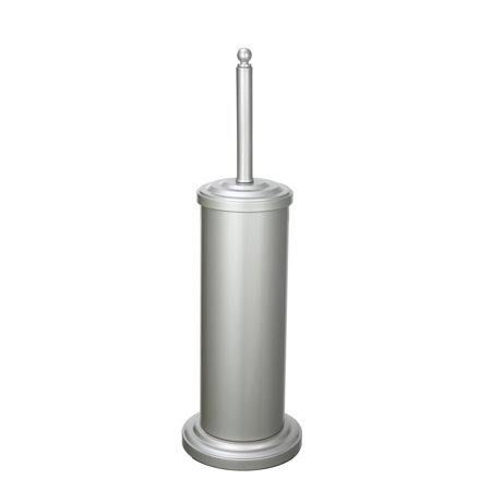 Better Homes and Gardens Satin Nickel Toilet Brush Set with Matching Storage Canister