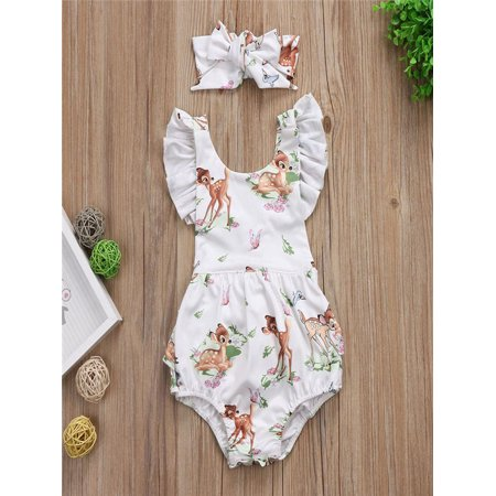 Toddler Infant Baby Girl Clothes Christmas Deer Romper Headband 2Pcs Set Outfit](Cute Toddler Christmas Outfits)