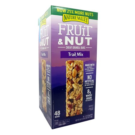 - NatureValley Fruit & Nut Chewy Granola Bars Trail Mix 25% More Nuts 48 Counts