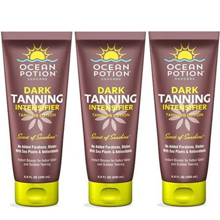 3 Pack Ocean Potion Dark Tanning Intensifier with Instant Bronzer, 6.8 oz Each