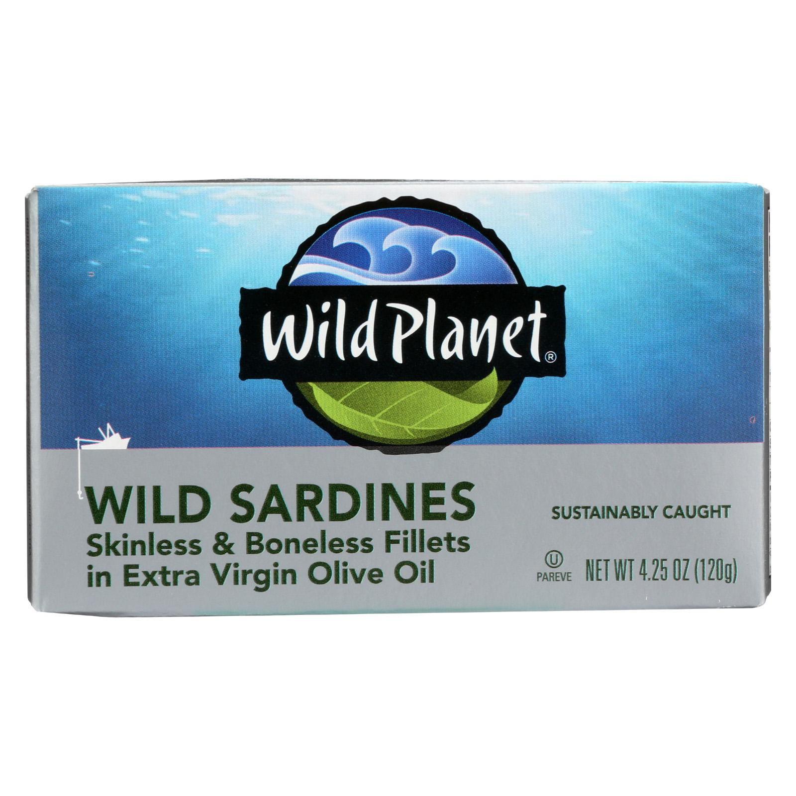 Wild Planet Wild Sardines - Skinless Boneless Fillets In Olive Oil - Pack of 12 - 4.25 Oz