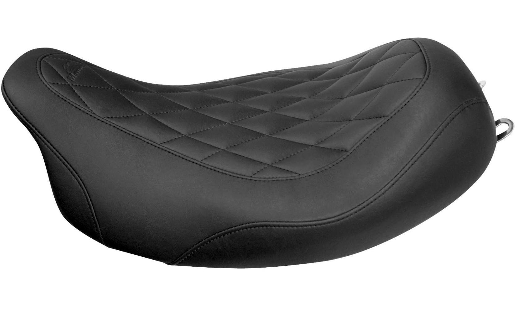 Mustang 76735 Wide Tripper Solo Motorcycle Seat with Diamond Stitching for Harley-Davidson 1997-2007 Black