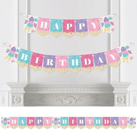 Scoop Up The Fun - Ice Cream - Sprinkles Birthday Party Bunting Banner - Birthday Party Decorations - Happy Birthday - Ice Cream Themed Decorations
