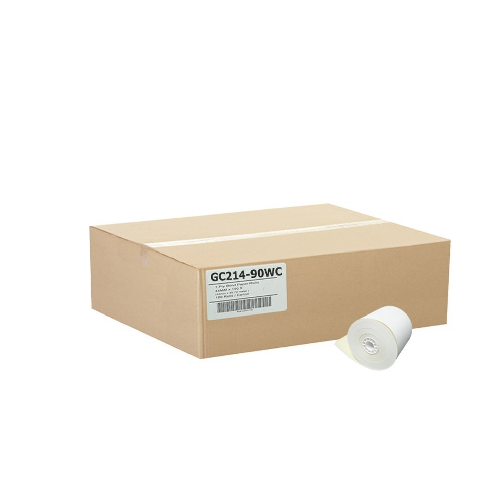 2-1 4 x 90' 2-Ply Carbonless Paper 50 Rolls White Canary by