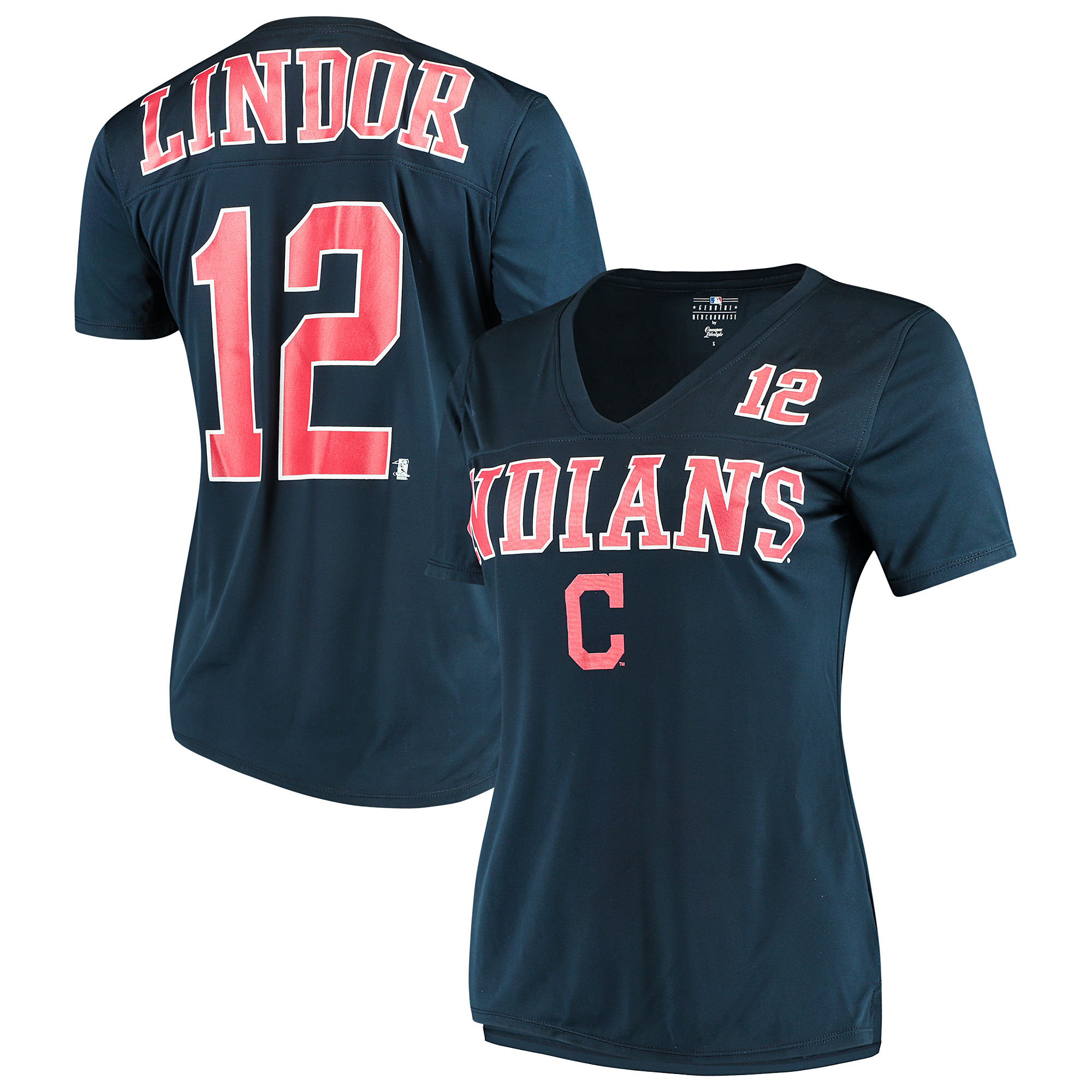 Women's New Era Francisco Lindor Navy Cleveland Indians Name & Number T-Shirt