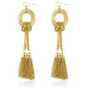 Goldtone Mesh Style Tassel 5.5 Inch Drop Earrings