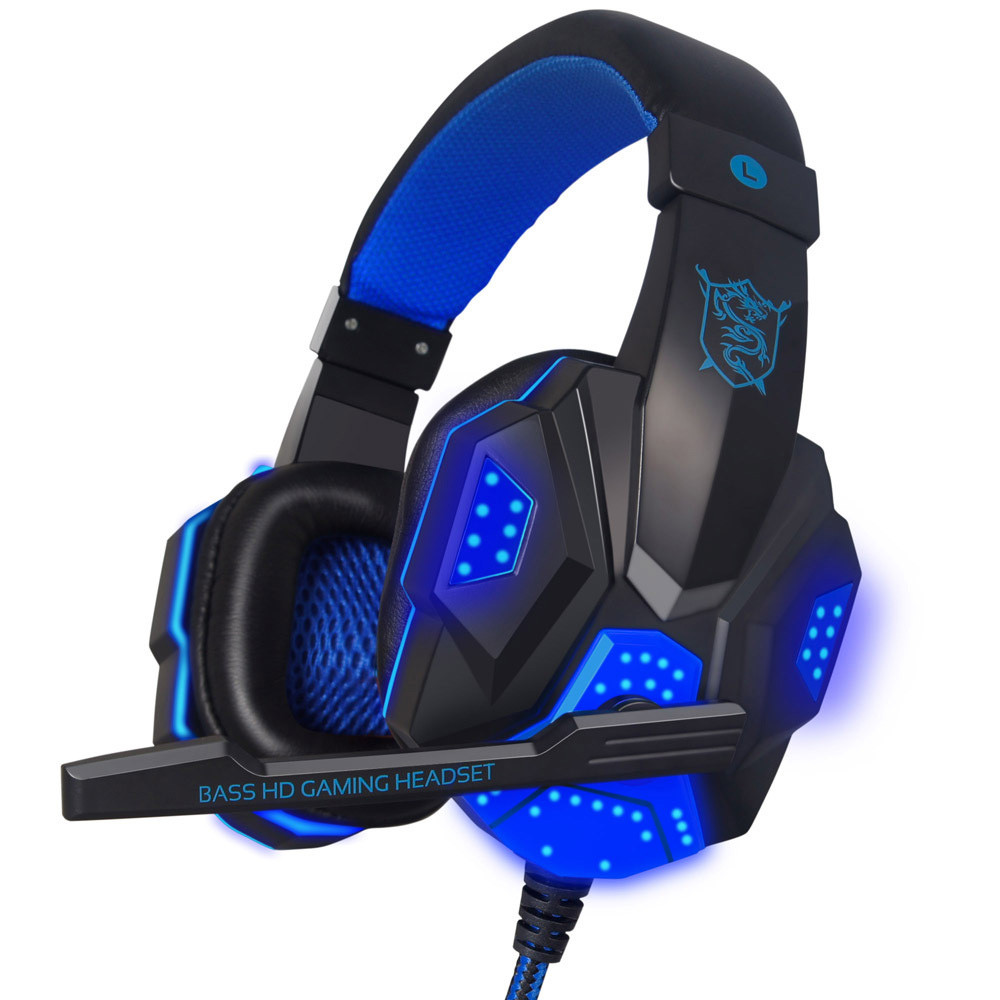 Surround Stereo Gaming Headset Headband Headphone USB 3.5mm Mic LED for PC BU