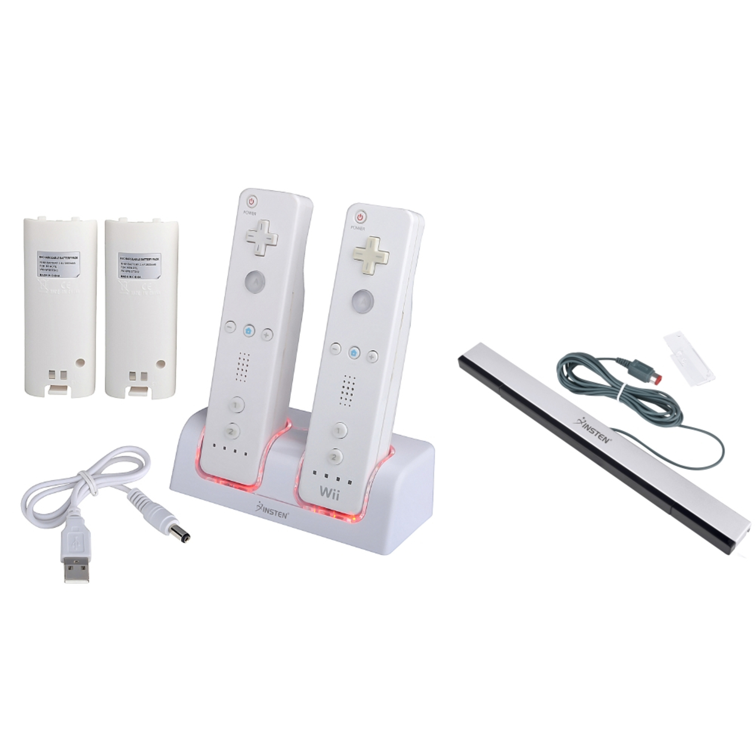 Insten White Remote Control Dual Charging Station + Wired Sensor Bar For Nintendo Wii / Wii U