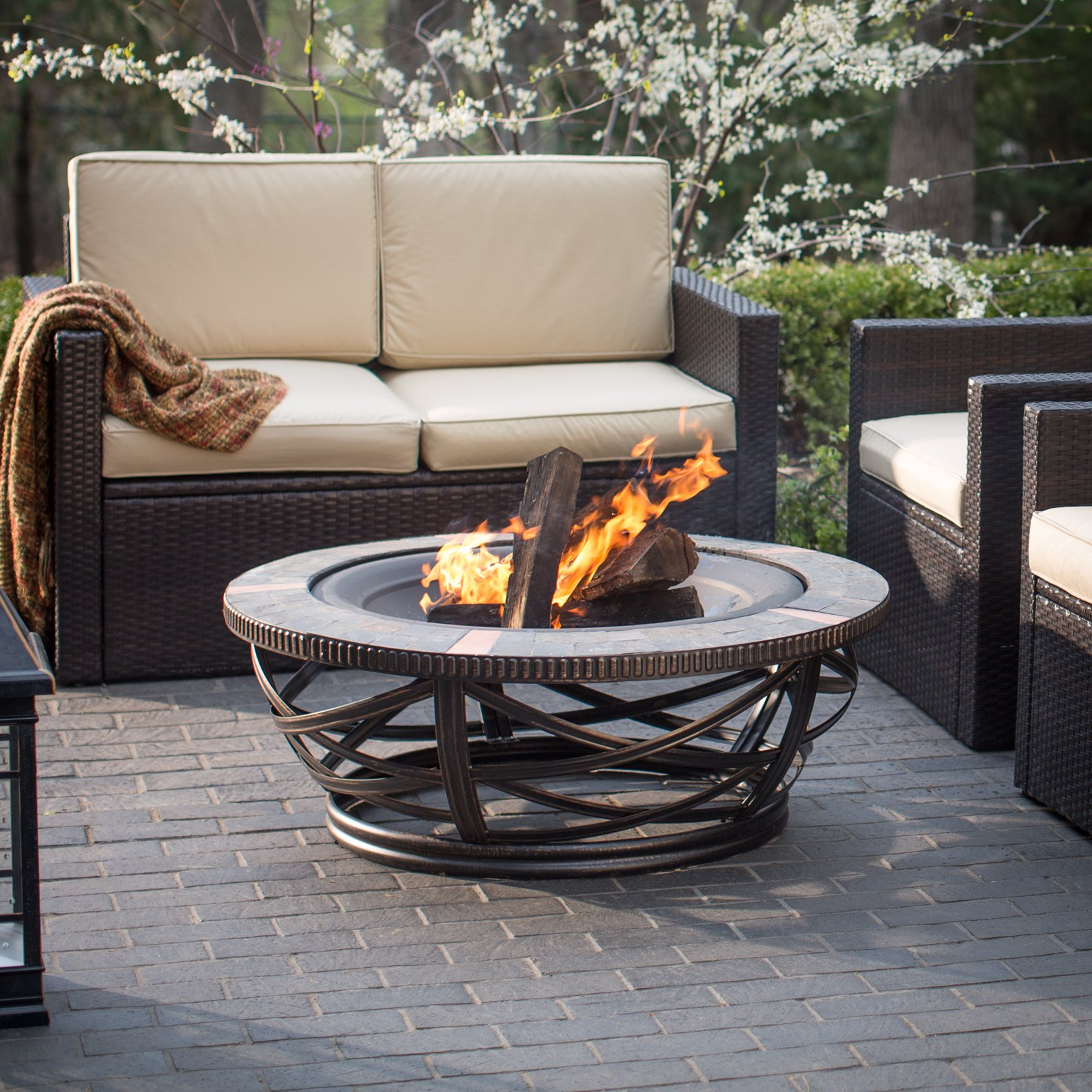 Crosley Glendale Round Slate Firepit, Black by Crosley Brands, Inc
