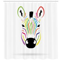 Cartoon Decor  Colorful Exotic Zebra Abstract Artwork Print, Bathroom Accessories, 69W X 70L Inches, By Ambesonne