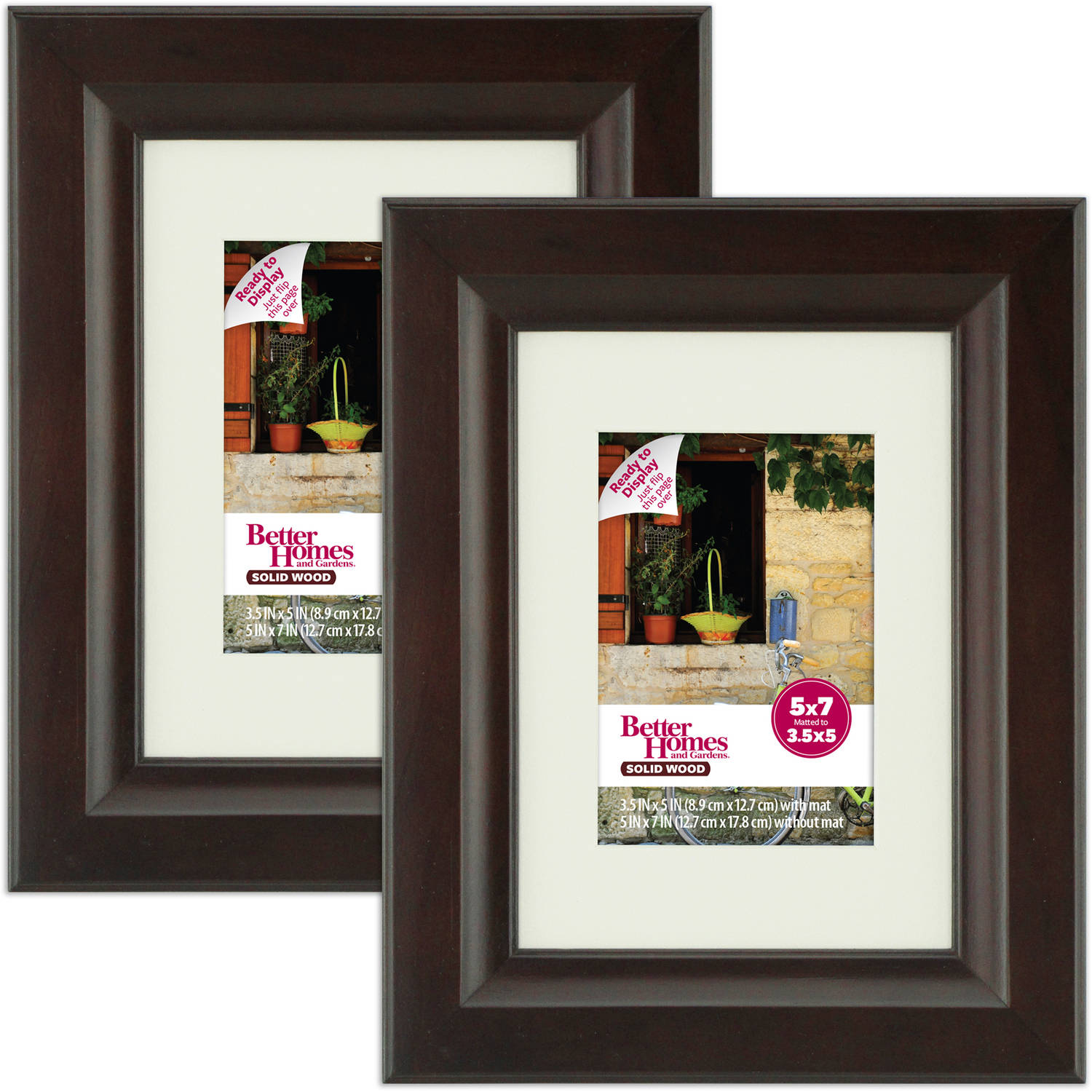 "Better Homes and Gardens Wide 5"" x 7"" Brown Frames, Set of 2"