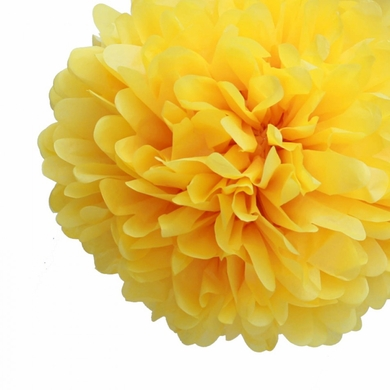 "12"" Yellow Tissue Paper Pom Poms Flowers Balls, Decorations (4 PACK)"