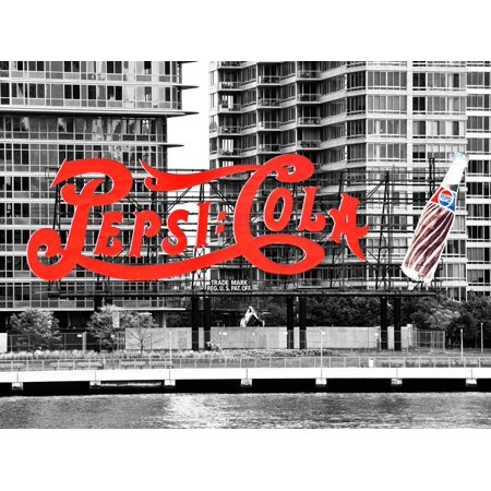 Pepsi Cola Bottling Sign, Long Island City, New York, United States, Black and White Photography Spot-Color Photography Print Wall Art By Philippe