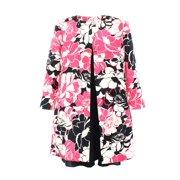 Kasper NEW Pink Black Womens 6 Floral Print Open Front Seamed Jacket $139