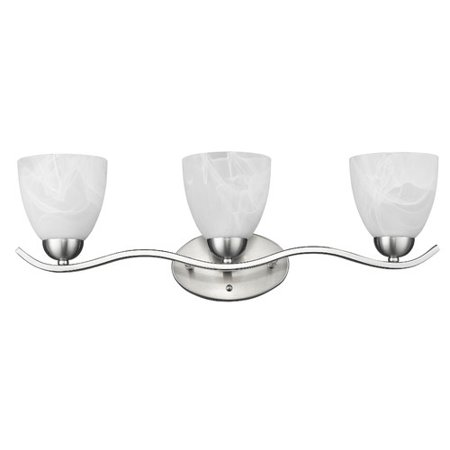 CHLOE Lighting UNDINE Transitional 3 Light Brushed Nickel Bath Vanity Wall Fixture White Alabaster Glass 24