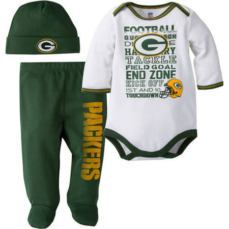2bba37ba NFL Green Bay Packers Baby Boys Bodysuit, Pant and Cap Outfit Set, 3-Piece