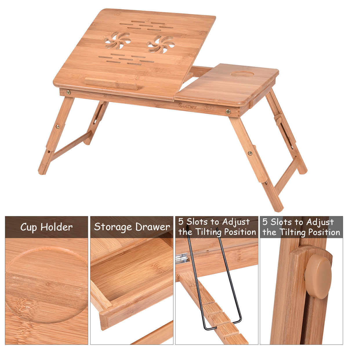 Costway Portable Bamboo Laptop Desk Table Folding Breakfast Bed Serving Tray W Drawer