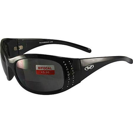 Global Vision Marilyn 2 Bifocal Sunglasses Rhinestone Decorated Gloss Black Frames 3.0x Magnification Smoke Lenses - Decorated Sunglasses