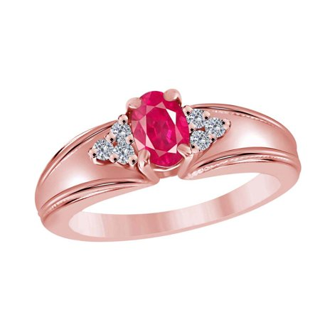 Gemstone Oval Ring - 0.65 Carat Diamond And Oval Shape Gemstone Ring In 10K Solid Rose Gold