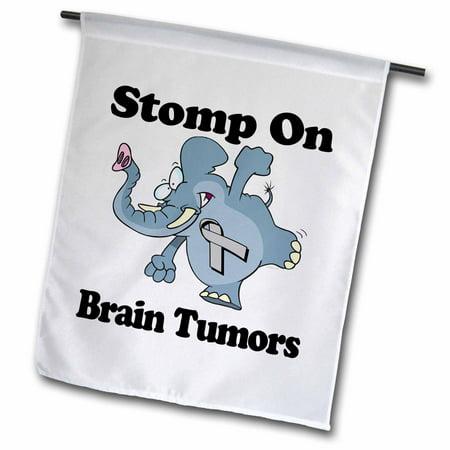 3dRose Elephant Stomp On Brain Tumors Awareness Ribbon Cause Design - Garden Flag, 12 by 18-inch (Brain Tumor Ribbon)
