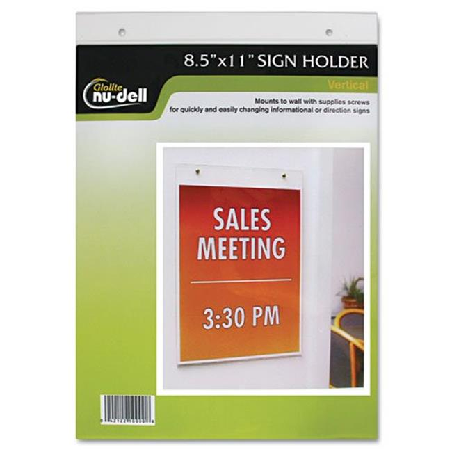 Glolite Nudell, Llc 38011Z Clear Plastic Sign Holder, Wall Mount, 8 1/2 x 11