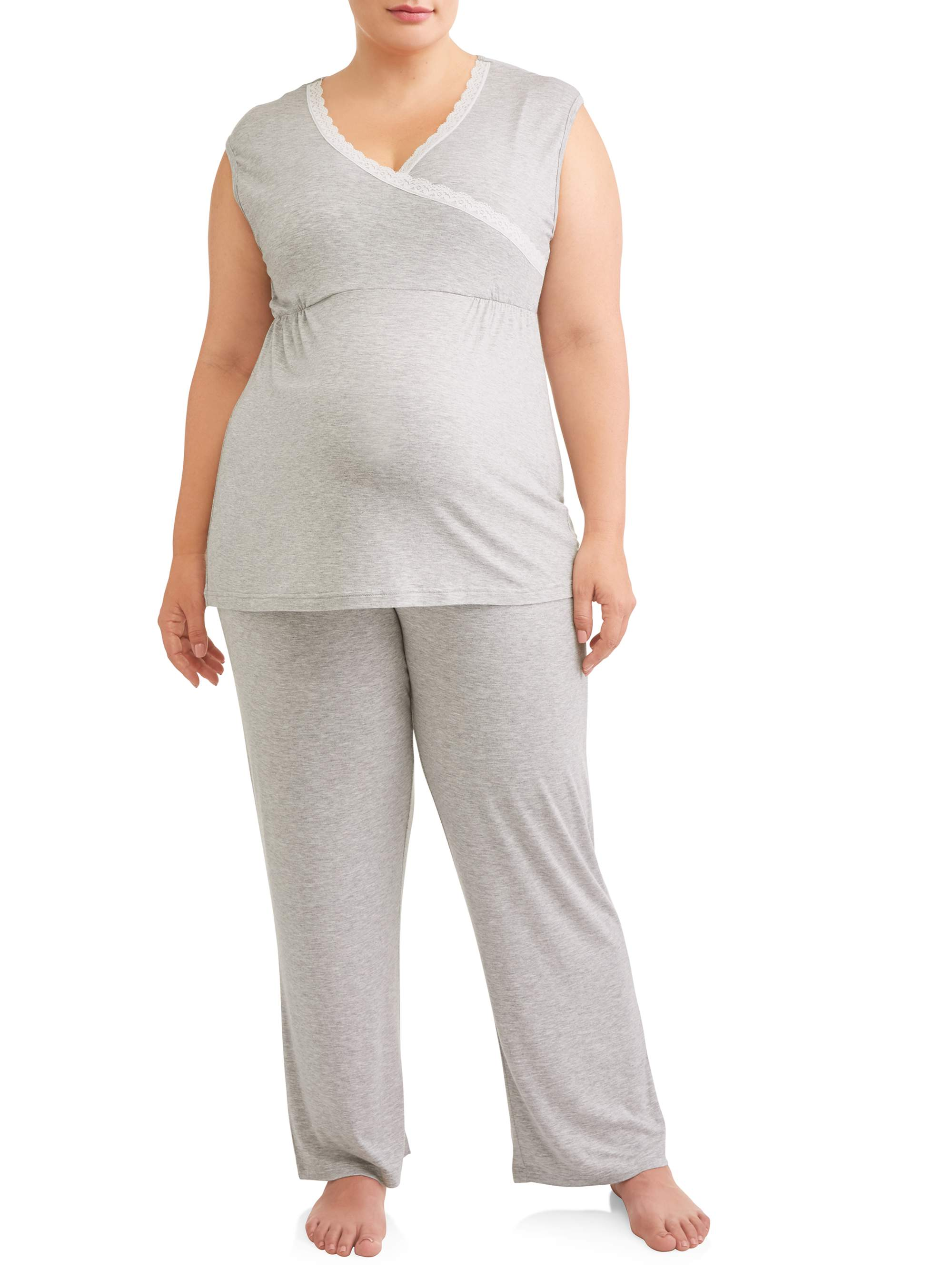 Nurture by Lamaze Maternity Nursing Sleeveless Lace Trim Top and Pants Sleep Set - Available in Plus Size