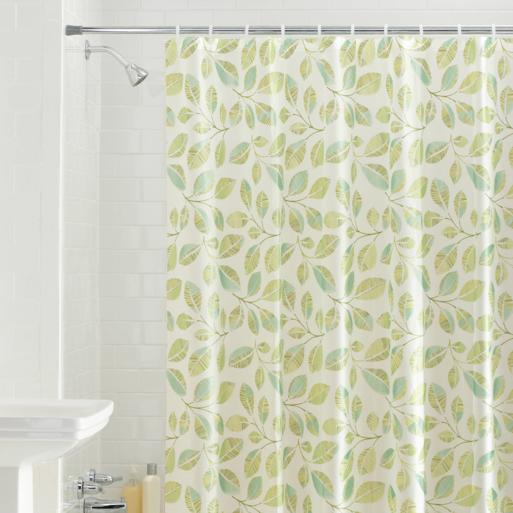 Mainstays Fiji Leaves PEVA Shower Curtain Green