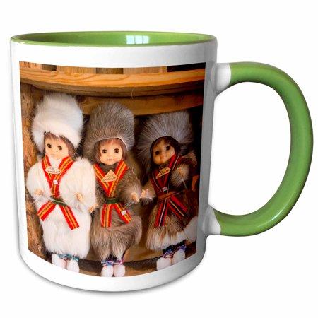 3dRose Honningsvag, Norway, Sami Tribal souvenirs of homemade items - Two Tone Green Mug,