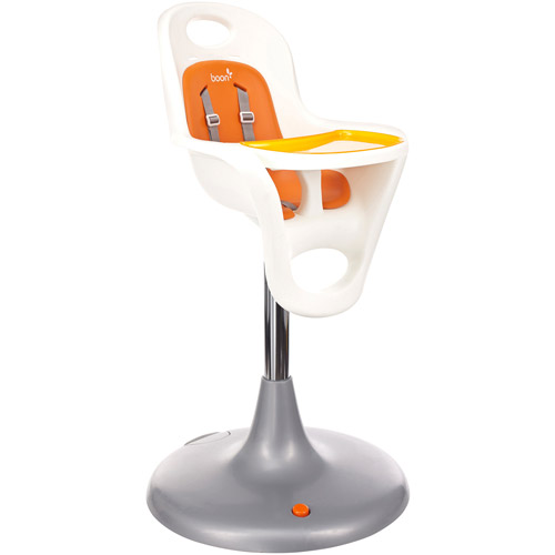 Boon Flair Pedestal High Chair, Baby High Chair, White Orange by Boon