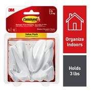 Command Medium Designer Hooks Value Pack, White, 8 Hooks, 12 Strips