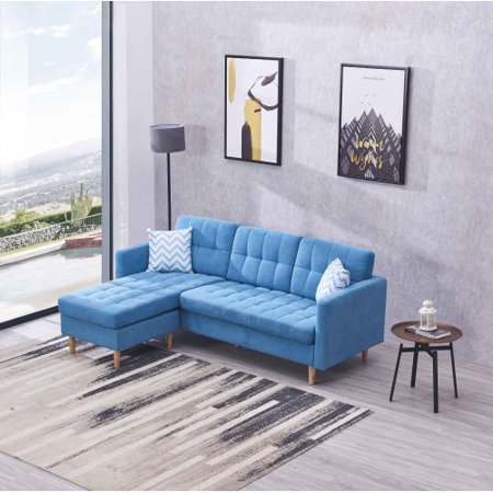 Harper& Bright Designs Modern Chaise Sectional Fabric Sofa Couch, Blue
