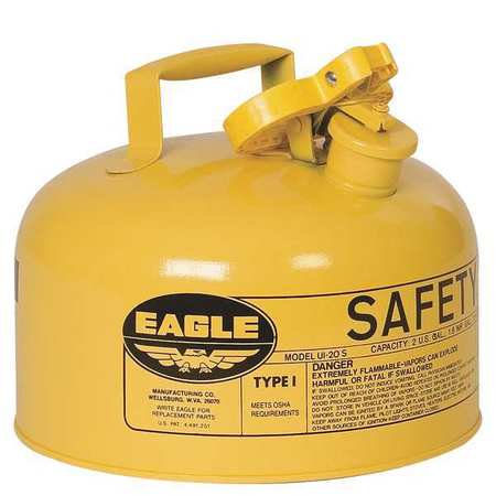EAGLE UI20SY 2 gal. Yellow Galvanized Steel Type I Safety Can, For Diesel