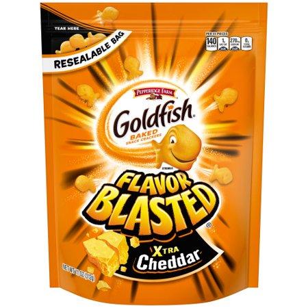 Pepperidge Farm Goldfish Flavor Blasted Xtra Cheddar Crackers, 11 oz. Re-sealable Bag - Customize Goldfish Bag