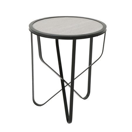 Noah Outdoor 18 Inch Ceramic Tile Side Table, Light Grey (Tile Side Table)