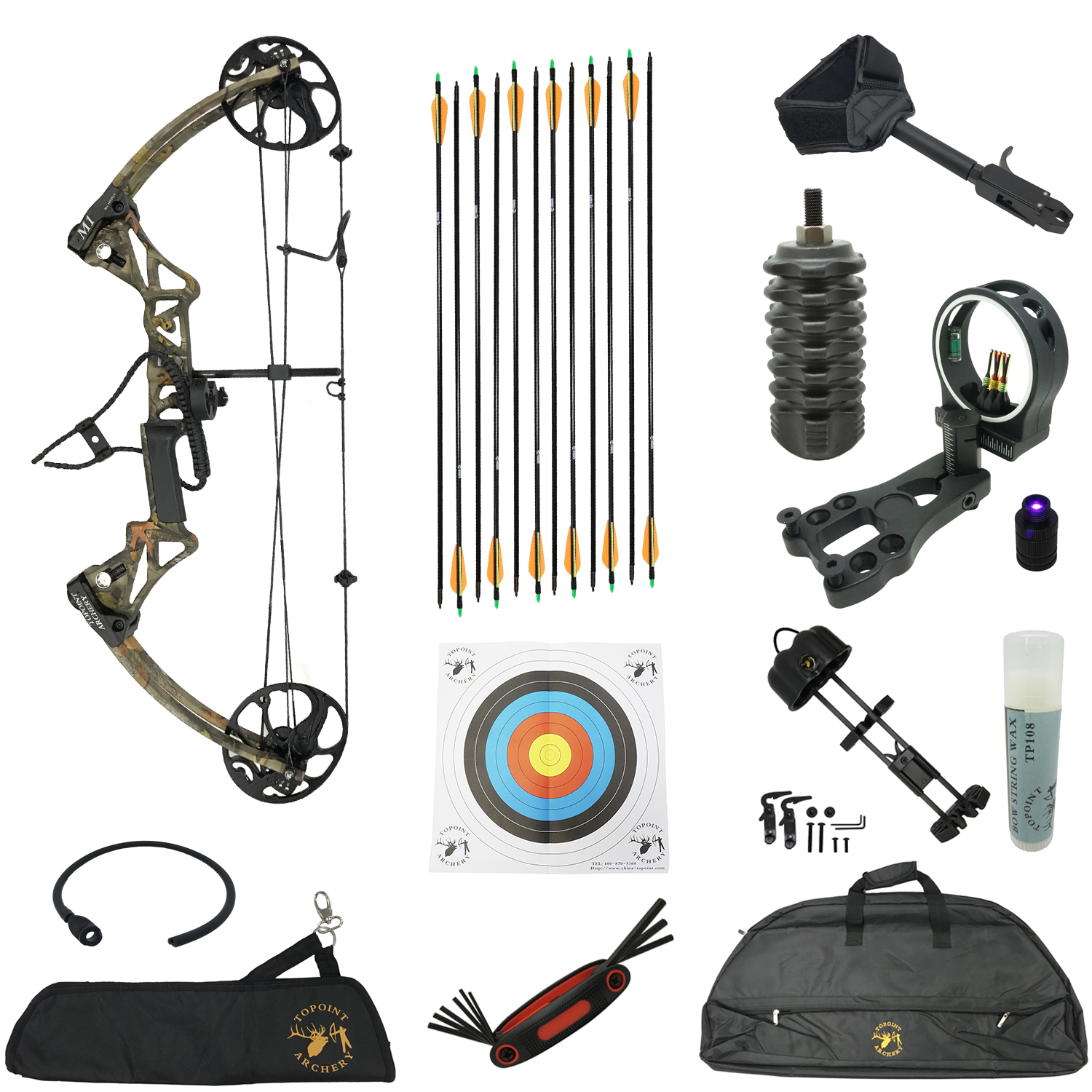Safari Choice Compound Bow Beginner Package, Camouflage