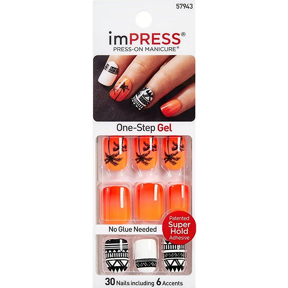 kiss impress night fever 2x longer lasting short nails by broadway press-on manicure nails