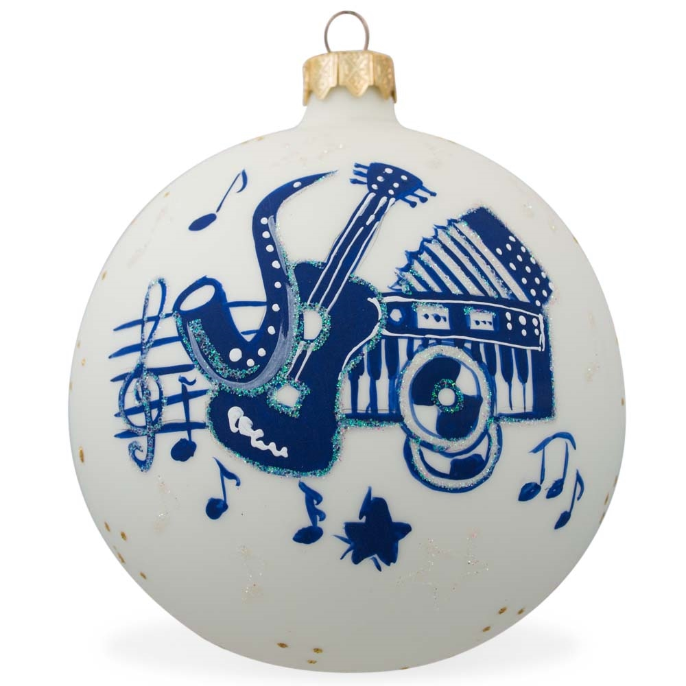 "4"" Saxophone, Guitar, Piano Music Instruments Glass Christmas Ornament"