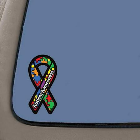 Autism Awareness Ribbon Car Decal Sticker | Vinyl Decal | 7