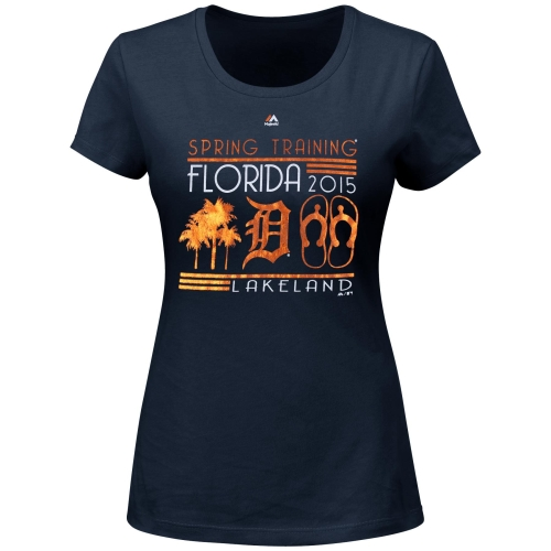 Detroit Tigers Majestic Women's Snowbird T-Shirt - Navy Blue
