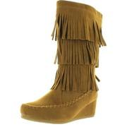 LINK PEGGY-92K Children Girl's Comfort Wedge Heel Fringe Trim Moccasin Boots
