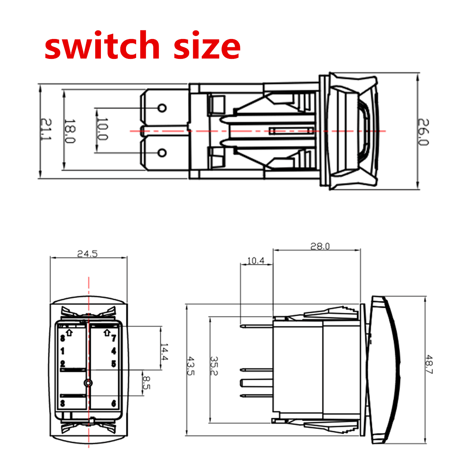 1 Set Universal LED Work Light Bar Laser Rocker Switch