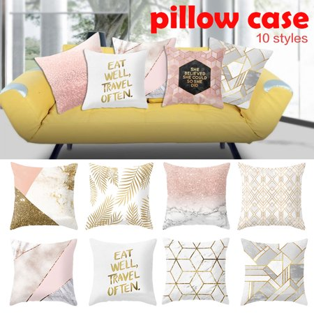 Golden Shiny Printed Polyester Pillowcase Sofa Cushion Pillowcase Stunning Decorating Pillow Cases
