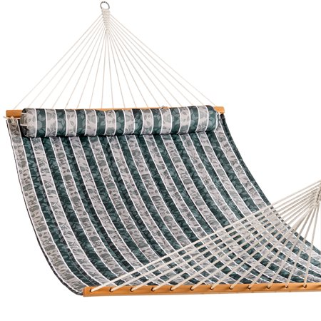 Lazy Daze Hammocks Quilted Fabric Double Size Spreader Bar Heavy Duty Stylish Hammock Swing Pillow Two Person, Green Leaves ()