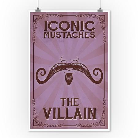 Iconic Mustaches - Villian (9x12 Art Print, Wall Decor Travel Poster) - Mustache Decor