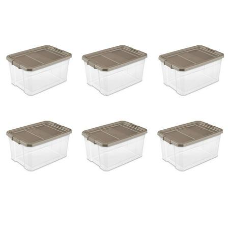 Sterilite, 76 Qt./72 L Stacker Box, Taupe Splash, Case of 6 (Prescription Bins)