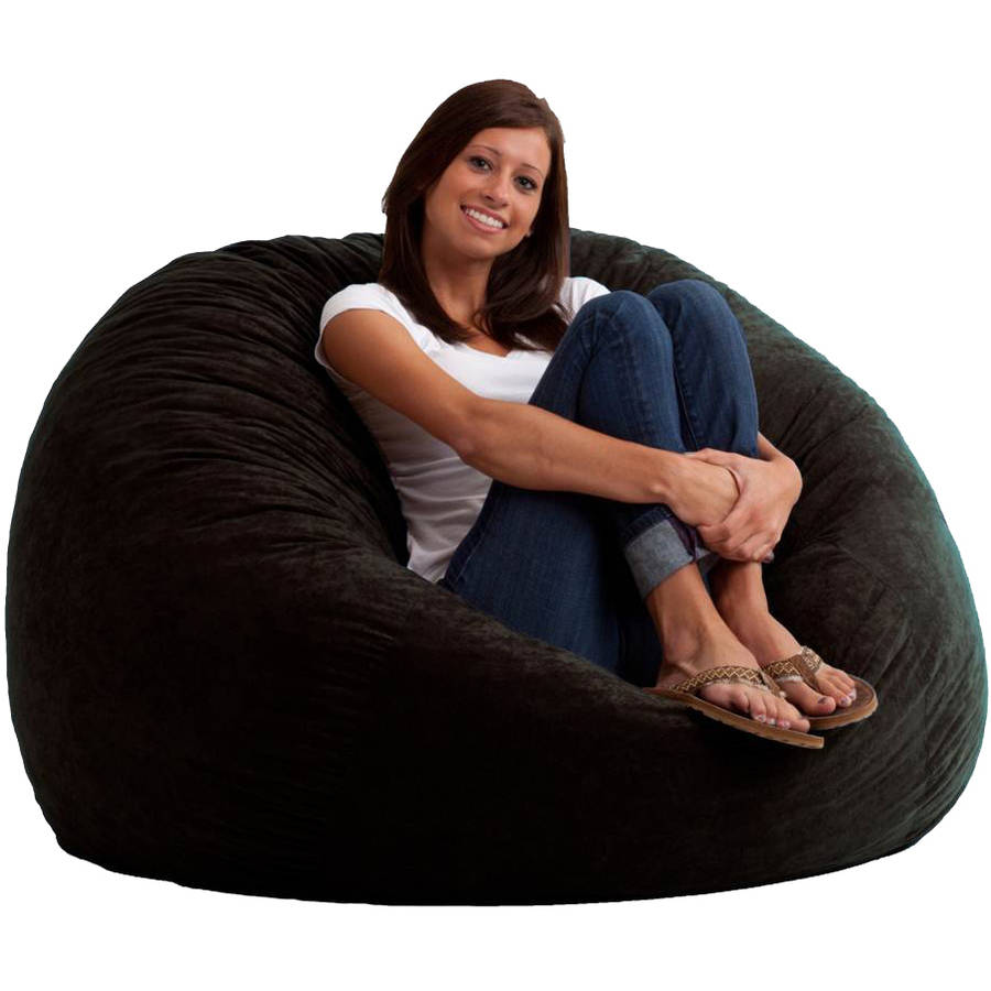 Large 4 Fuf Comfort Suede Bean Bag Chair Black OnyxWalmartcom