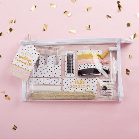 Kate Aspen Wedding Survival Kits Wedding Day Emergency Kit for Bride, The Perfect Bride Gift, Bridesmaid Presents, Bachelorette Party Favors Wedding Favors (Classic, 48 Sets) In a chic and timeless polka dot print, our Classic Wedding Survival Kit protects you from the stresses of a fashion emergency! Inside the kit is everything you and your bridal party need to fix nail, hair, cosmetic, or fashion emergencies, and all the pieces are organized together in a chic and versatile clear vinyl cosmetics case. Let your worry go and focus on the fun with a kit that takes care of everything!Features and facts:A practical and adorable black and white polka dot print wedding survival kit with items brides and bridesmaids need to ensure the wedding day goes smoothly  Survival kit includes: manicure set with nail clippers, tweezers, and scissors, nail file, 4 hair ties, 8 bobby pins, paper clothing tape, 12 oil absorbing wipes, and sewing kit displayed in a clear vinyl cosmetic bag Measures 10.2  w x 6.7  h x 2.1  d