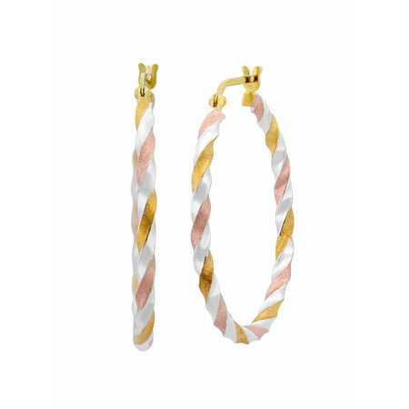 Sterling Silver and 18kt Gold and Rose Over Sterling Silver Satin Twist Hoop