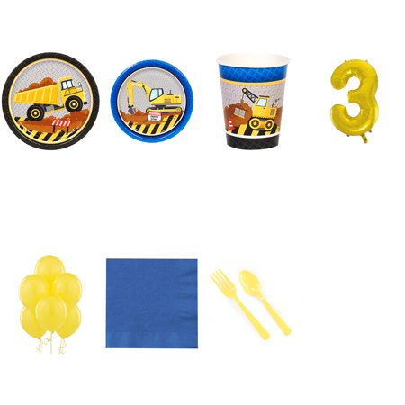 Construction Party Supplies Party Pack For 16 With Gold #3 Balloon](Construction Theme Party Supplies)